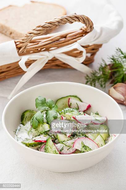 Salad with fresh spring radishes and cucumbers