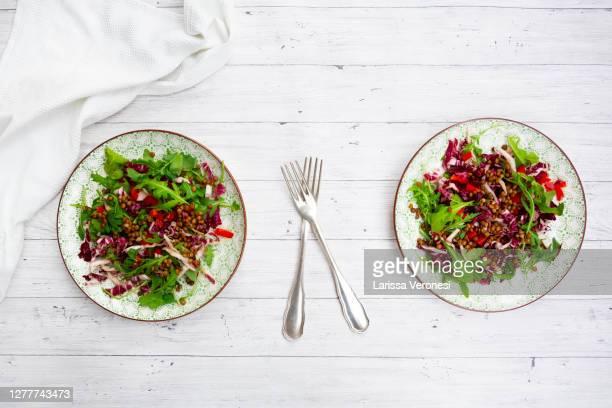 salad with lentils - larissa veronesi stock-fotos und bilder