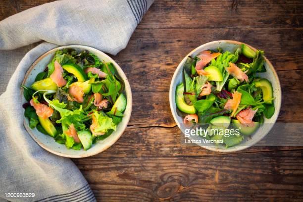 salad with smoked salmon - larissa veronesi stock-fotos und bilder