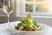fresh green salad with wine window