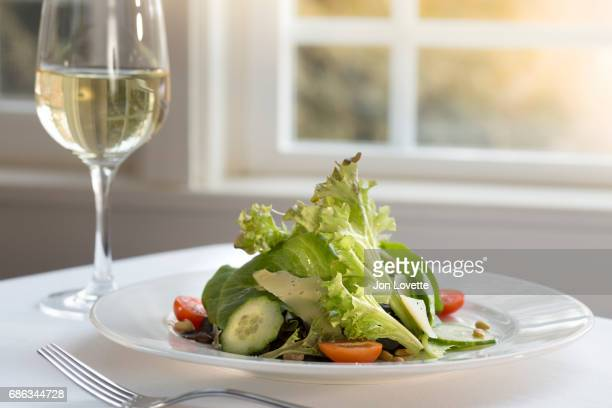 salad with white wine - green salad stock pictures, royalty-free photos & images