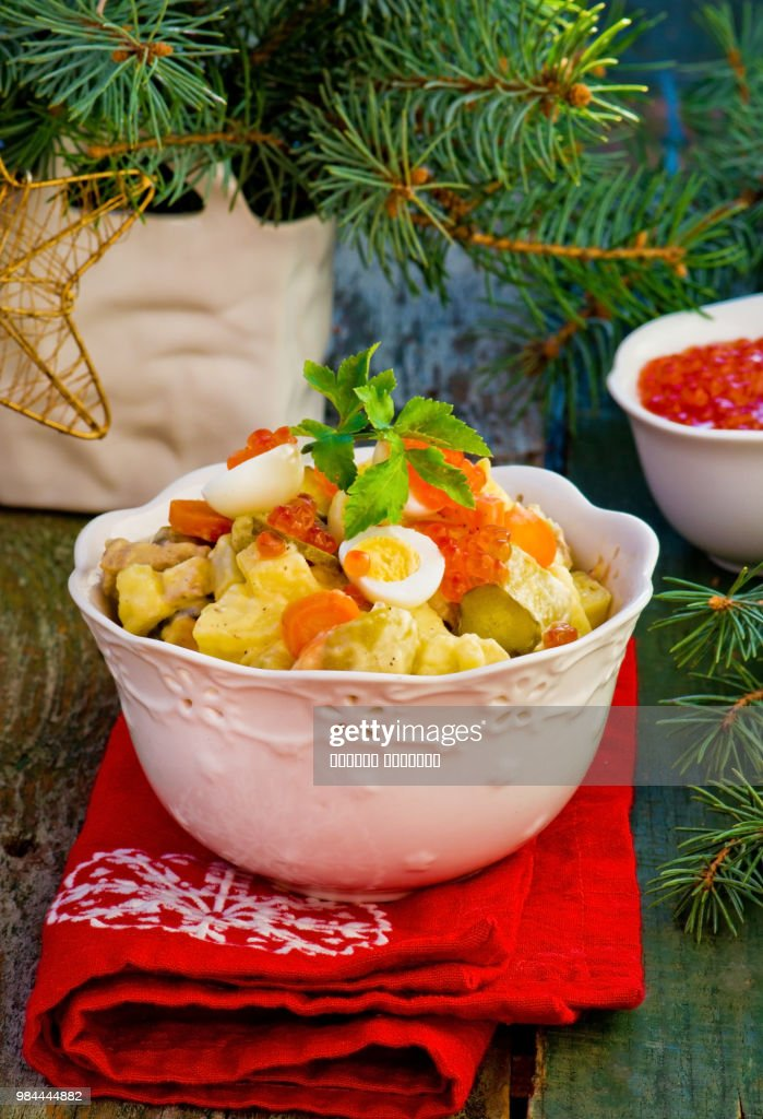 Salade Olivier Russian Salad Traditional Russian New Years Salad High Res Stock Photo Getty Images