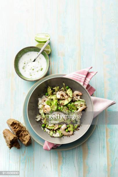 Salads: Quinoa Salad with Shrimps, Avocado, Iceberg Lettuce, Peas and Chives