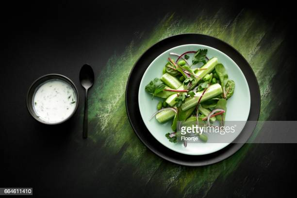 Salads: Salad with Cucumber, Lettuce, Soybeans, Parsley and Yoghurt Dressing