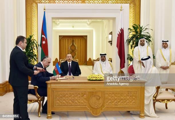 Salah bin Ghanem bin Nasser Al Ali, Minister of Culture and Tourism and Azerbaijani Foreign Minister Elmar Memmedyarov sign agreements between Qatar...