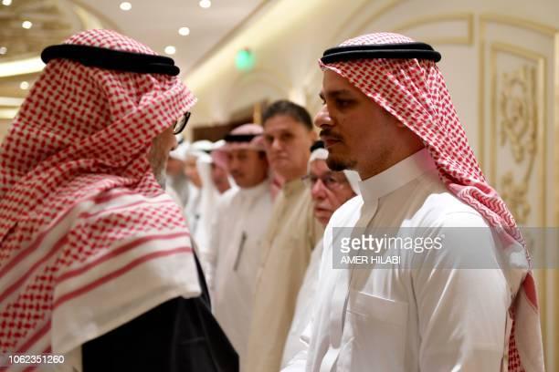 Salah Khashoggi the son of murdered Saudi journalist Jamal Khashoggi and his relatives receive mourners at an events hall in the Saudi coastal city...