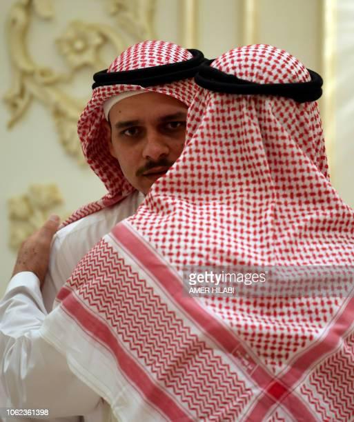 Salah Khashoggi the son of murdered Saudi journalist Jamal Khashoggi receives mourners at an events hall in the Saudi coastal city of Jeddah on...