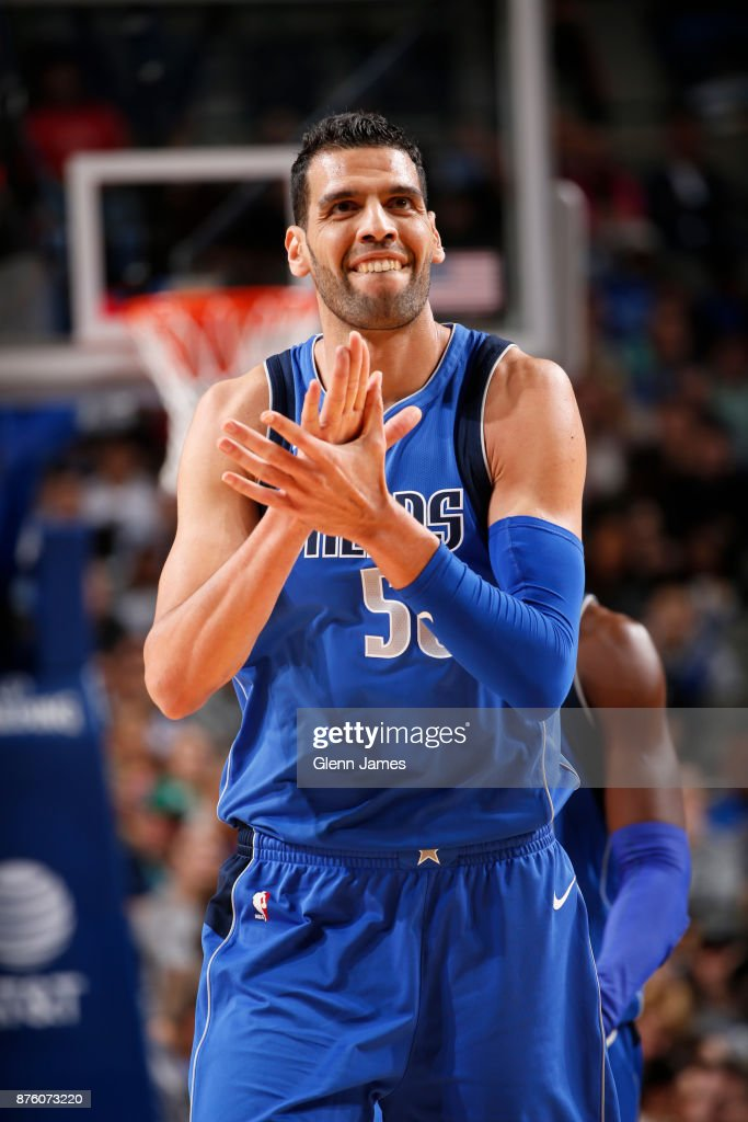 Salah Mejri #50 of the Dallas Mavericks reacts to a play against the Milwaukee Bucks on Novemeber 18, 2017 at the American Airlines Center in Dallas, Texas.