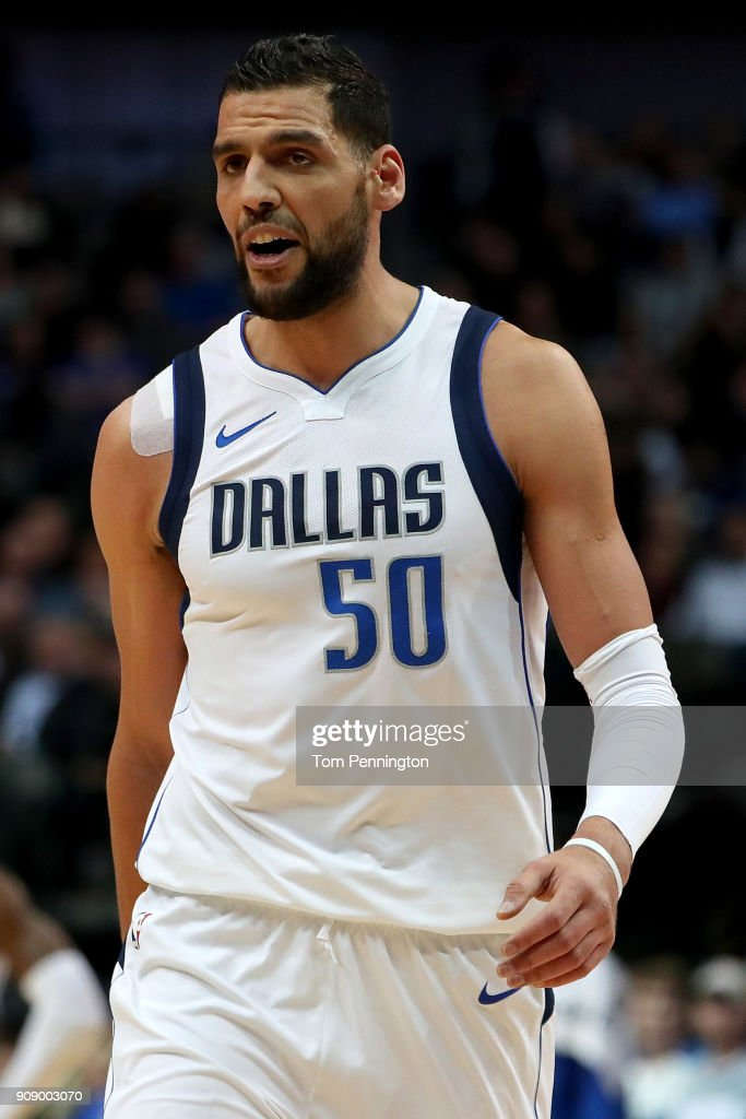 Salah Mejri #50 of the Dallas Mavericks reacts to being charges with a technical and being ejected from the game against the Washington Wizards at American Airlines Center on January 22, 2018 in Dallas, Texas.