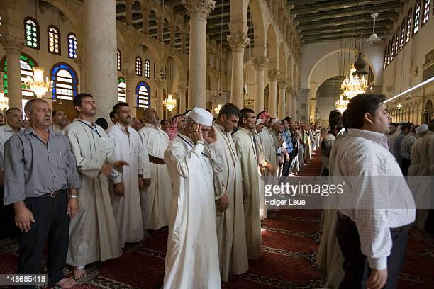 salah muslim prayer, umayyad mosque. - namaz stock pictures, royalty-free photos & images