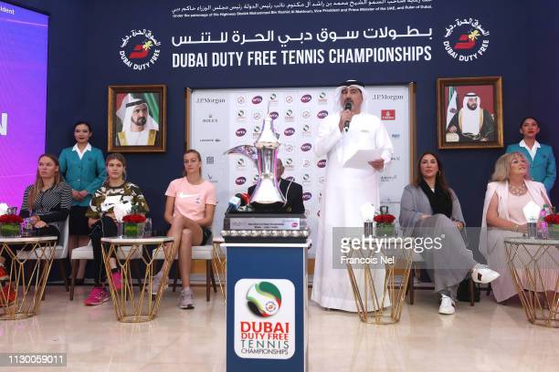 Salah Tahlak Executive Vice President Corporate Services Dubai Duty Free and Tournament Director speaks during the official WTA draw ceremony at...