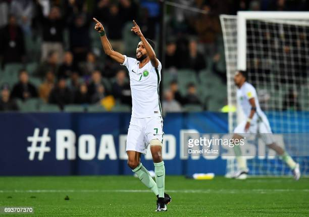 Salam Alfaraj of Saudi Arabia reacts after Salem Aldawsari of Saudi Arabia scores during the 2018 FIFA World Cup Qualifier match between the...