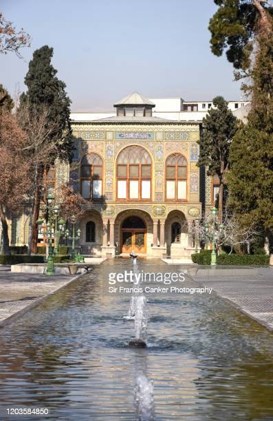 salam hall (reception hall) at golestan palace (kakh-e golestan) with fountain on foreground,tehran, iran - royalty stock pictures, royalty-free photos & images