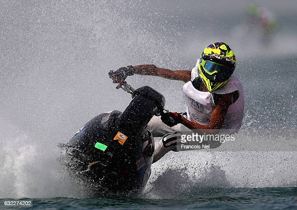 Salam Younus Al Awadhi of UAE race in the Ski Junior Stock during the Dubai Waterbike Championship at Jumeirah Beach on January 21 2017 in Dubai...