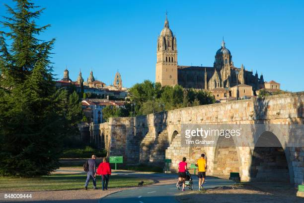 Salamanca famous cathedral and university city and Puente Romano bridge Spain