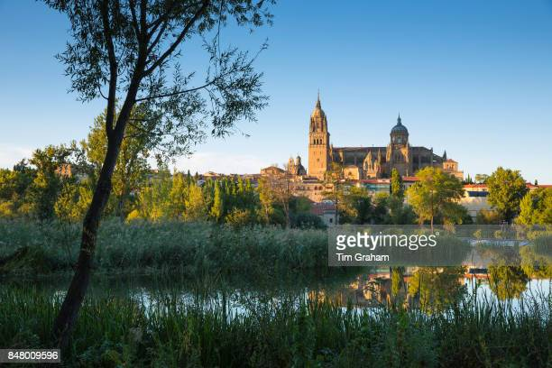 Salamanca - famous medieval cathedral and university city, Rio Tormes in foreground, Spain.