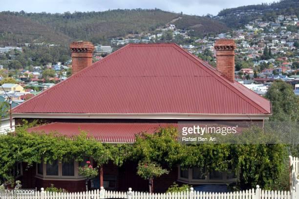 salamanca place in hobart tasmania australia - rafael ben ari stockfoto's en -beelden