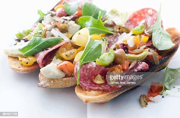 Salami crostini