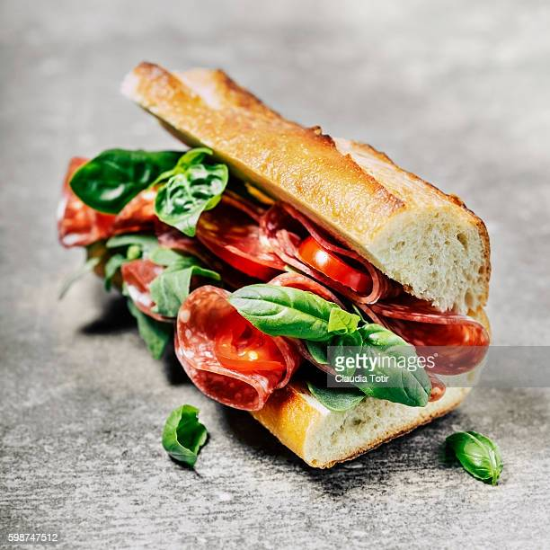 salami sandwich - baguette stock pictures, royalty-free photos & images