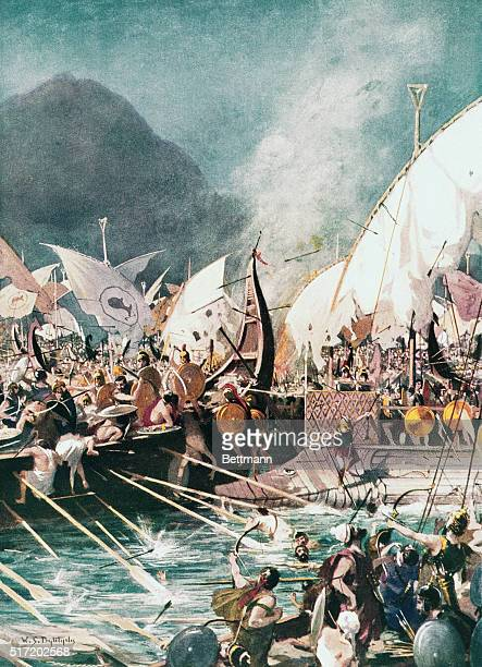 Greek Sea Battle Battle of Salamis 480 B C in which Greece gained an uncontested victory over the Persian fleet Painting based on ancient sources