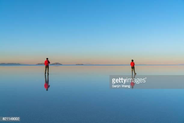 salar de uyuni - reflection lake stock photos and pictures