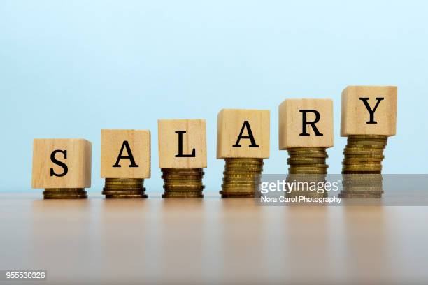 salary text written on wooden block with stacked coins - wages stock photos and pictures