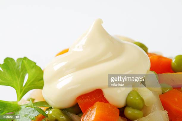 salat from vegetable mix with mayonnaise - mayonnaise stock pictures, royalty-free photos & images