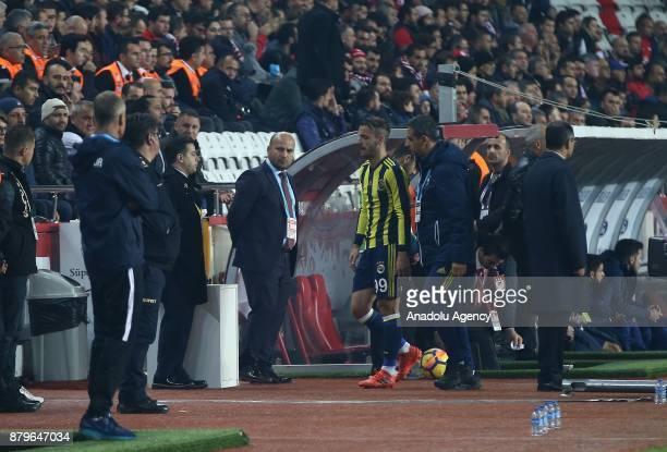 Saldado of Fenerbahce is seen after getting injured during the Turkish Super Lig match between Antalyaspor and Fenerbahce at Antalya Stadium in...