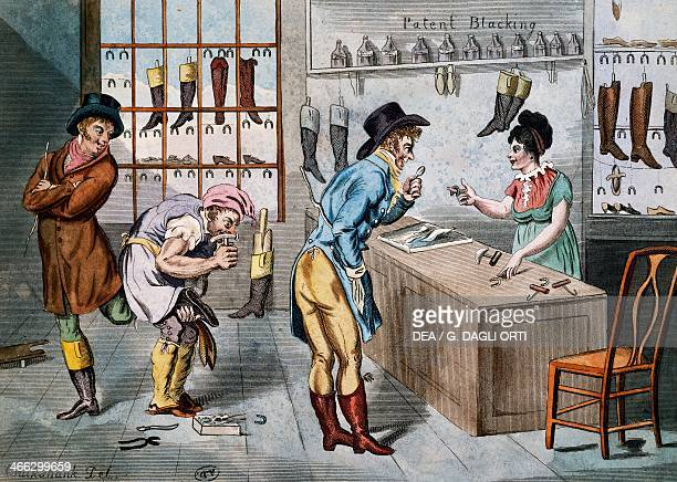 Sale and repair of boots print United Kingdom 18th century