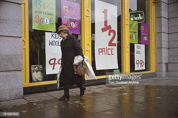 A sale at Benetton on Grafton Street in Dublin Ireland 1988
