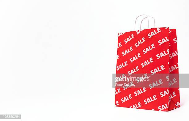 sale bag on white background with copy space - sale stock photos and pictures