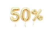 50 % sale banner golden flying foil balloons on white