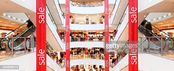 sale banner in mall - sale stock photos and pictures