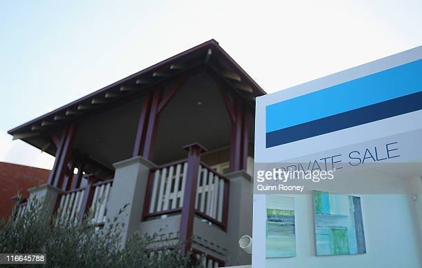 A sale board stands out the front of a property in Middle Park on June 17 2011 in Melbourne Australia RP Data figures released this week reveal that...