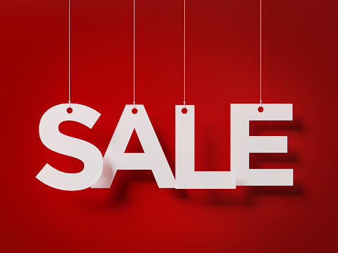 Sale Concept -  Sale Text With Strings Over Red Background 903911346