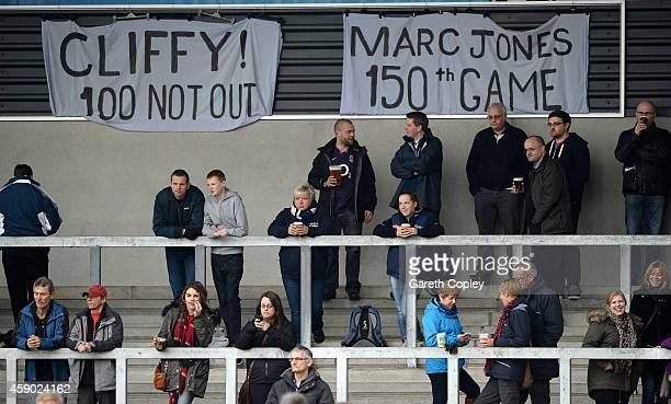Sale Fans fans show their support as Will Cliff and Marc Jones reach milestones during the Aviva Premiership match between Sale Sharks and London...