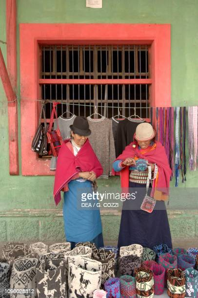 Sale of Andean textile crafts Guamote Chimborazo Province Ecuador