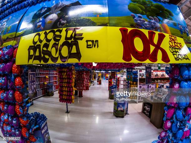Sale of Easter eggs in a shop in central zone of Sao Paulo on 5 March 2018 The chocolate industry already works at full steam to fuel the trade with...