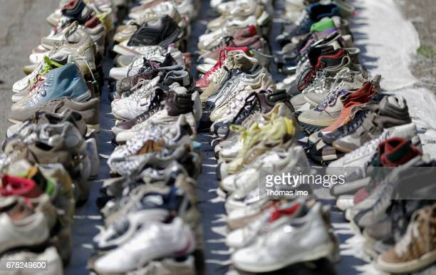 Sale of shoes at a market in Tirana Albania on March 28 2017 in Tirana Albania