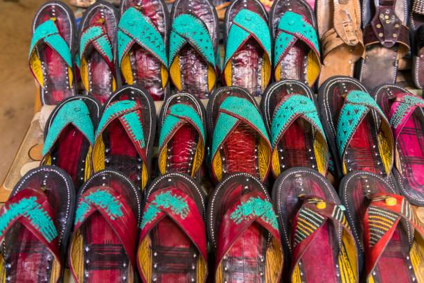 Sale of slippers, sandals, traditional shoes, central market, Agadez, Niger