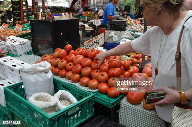 Sale of vegetables and legumes in the Monday market of GernikaLumo on June 2017 Gernika Vizcaya Basque Country Spain