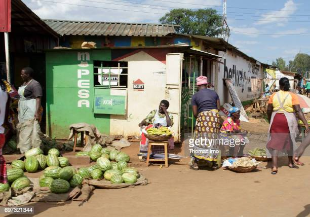 Sale of watermelons on a street in Kakamega County on May 16 2017 in Kakamega County Kenya