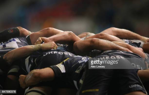 Sale Sharks players are seen in a scrum during the Aviva Premiership match between Sale Sharks and Northampton Saints at AJ Bell Stadium on March 3...