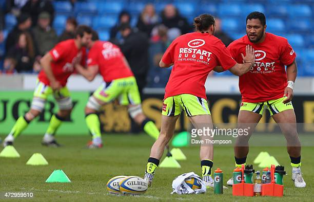 Sale Sharks players warm up wearing Restart Rugby tshirts during the Aviva Premiership match between Sale Sharks and Newcastle Falcons at the AJ Bell...