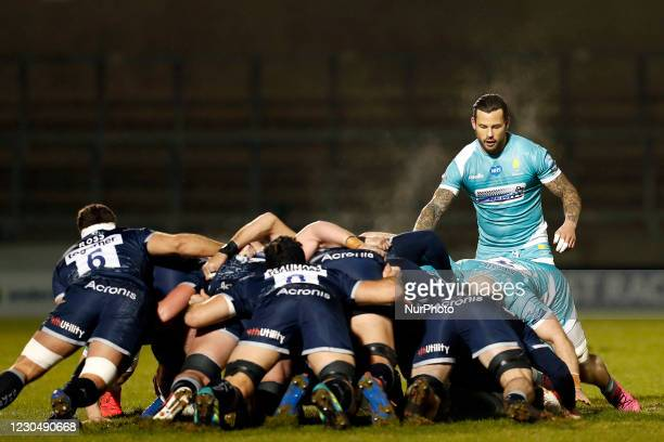 Sale Sharks scrum with Worchester during the Gallagher Premiership match between Sale Sharks and Worcester Warriors at AJ Bell Stadium, Eccles on...
