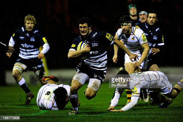 Sale Sharks wing Tom Brady makes a break to set up the first try during the Aviva Premiership match between Sale Sharks and London Wasps at Edgeley...