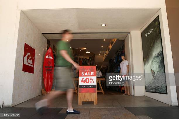A sale sign is displayed at a Quiksilver store a Boardriders Inc brand in the Manly Corso retail area in Sydney Australia on Friday Jan 5 2018 The...