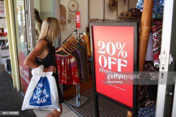 A sale sign is displayed in a clothing store in the Manly Corso retail area in Sydney Australia on Friday Jan 5 2018 The Australian Bureau of...