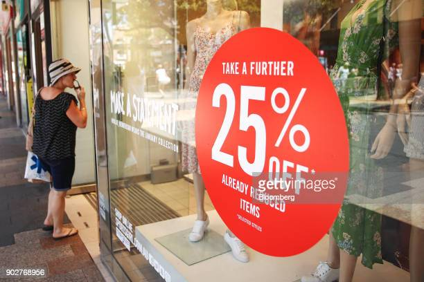 A sale sign is displayed in a window at a clothing store in the Manly Corso retail area in Sydney Australia on Friday Jan 5 2018 The Australian...