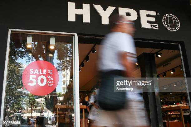 A sale sign is displayed in a window at a Hype DC footwear store in the Manly Corso retail area in Sydney Australia on Friday Jan 5 2018 The...